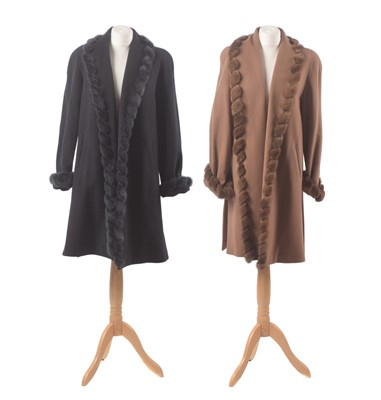 Lot 30 - Two wool and mink tipped coats