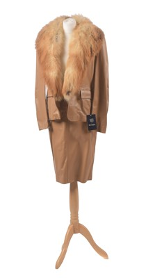Lot 20 - A leather and fox fur suit by B&B