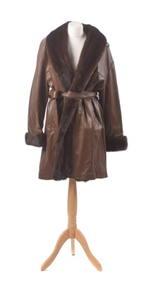 Lot 33 - A leather and fur coat