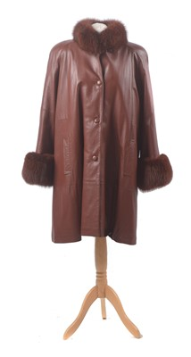 Lot 15 - A leather and fur coat