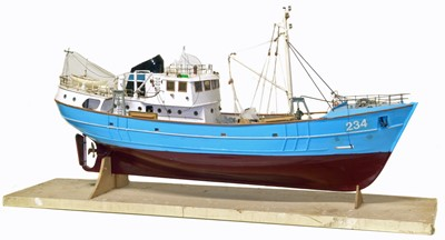 Lot 58-Scale model of a fishing trawler.