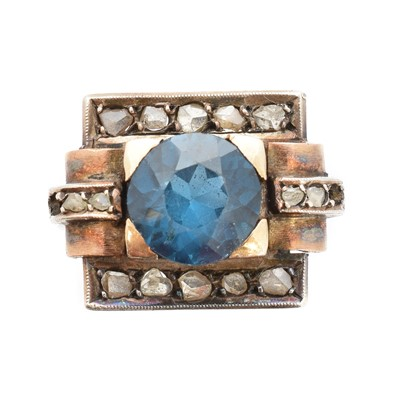 Lot 40 - A blue paste and diamond dress ring