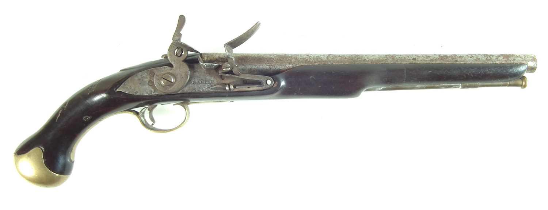 Lot 21-Flintlock sea service type pistol by Brander