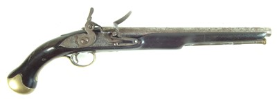 Lot 21-Flintlock sea service type pistol by Brander