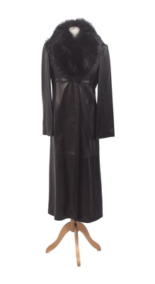 Lot 36-A leather coat by Gianni Versace