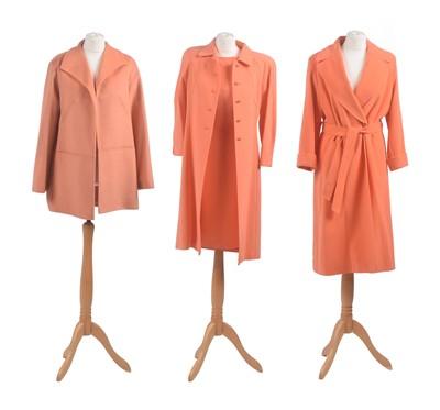 Lot -Three orange designer coats