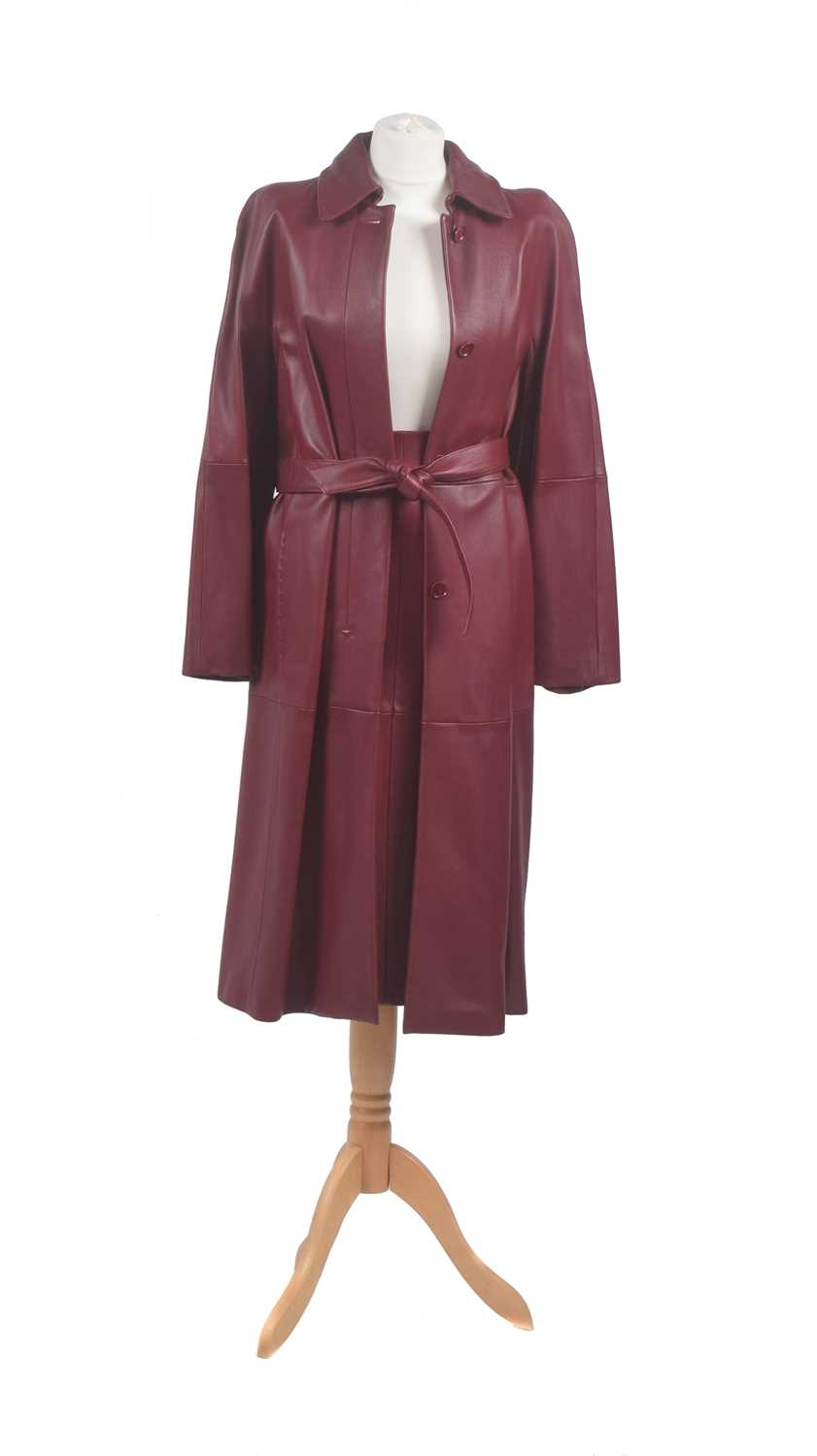 Lot 48-A red leather set by Maxmara