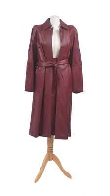 Lot 12-A red leather set by Maxmara