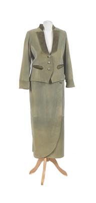 Lot 86 - A green suede suit by Suzanne Sharee