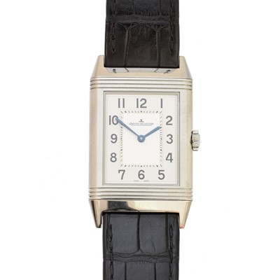 Lot -A Jaeger Le Coultre Grande Reverso Ultra Thin stainless steel manual wind wristwatch