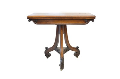 Lot 409 - Victorian rosewood fold-over card table