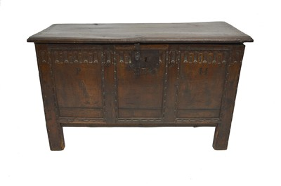 Lot -Early 17th century oak jointed chest dated 1604