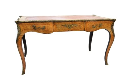 Lot -Mid 19th Century French walnut veneered bureau plat