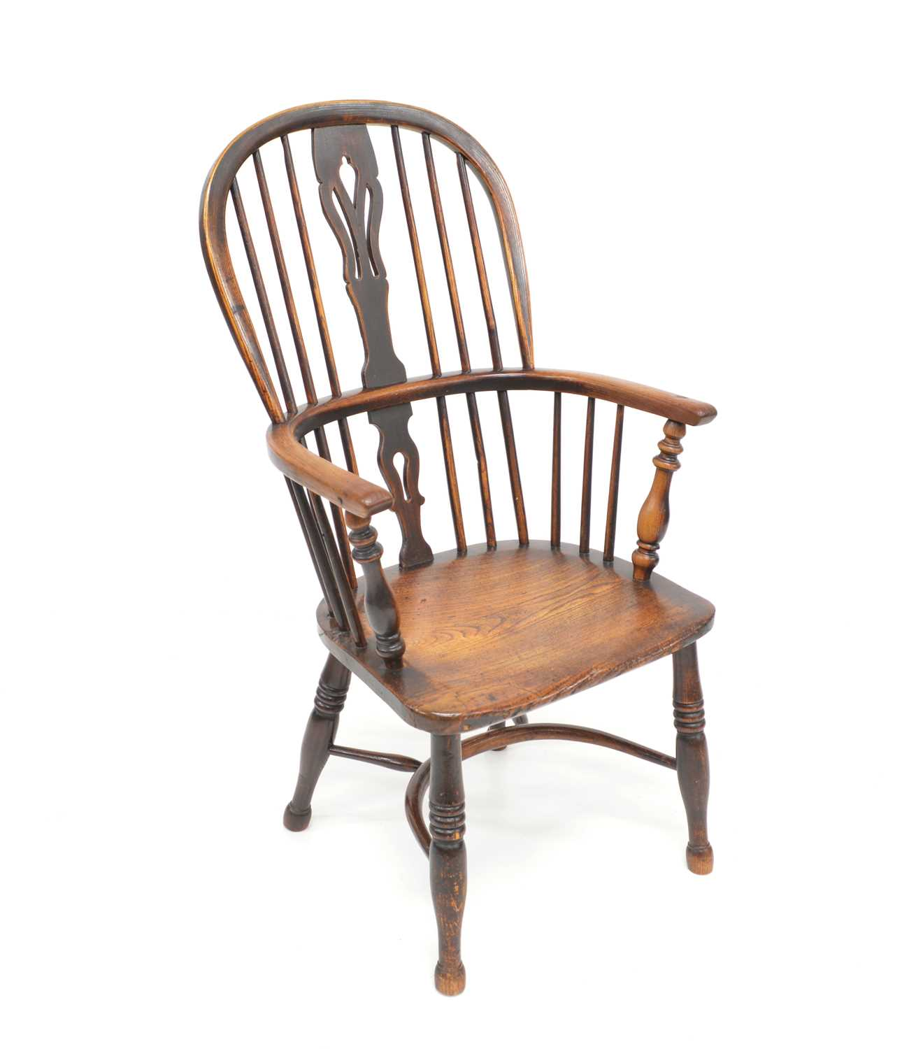 Lot 378 - Mid 19th century ash and elm Windsor chair