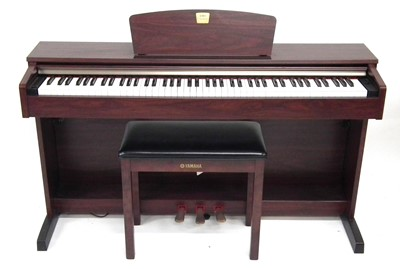 Lot 23 - Yamaha Clavinova electric piano, with stool and Sanyo headphones.