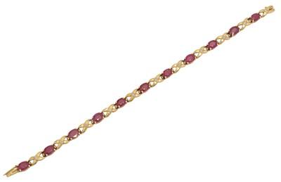 Lot 10 - A 9ct gold ruby and diamond bracelet