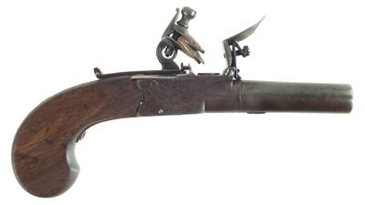 Lot 19-Flintlock pocket pistol by Thomas