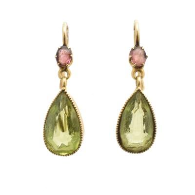 Lot 45 - A pair of peridot drop earrings
