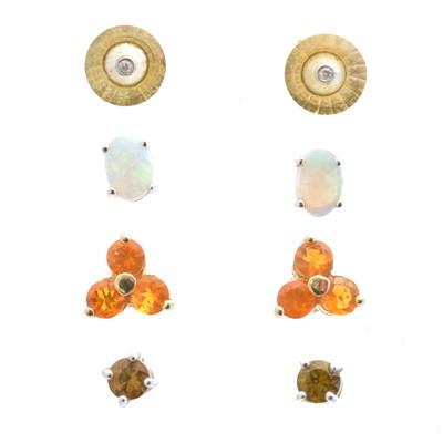 Lot 56 - Four pairs of gem-set earrings