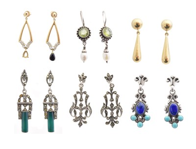 Lot 54 - A selection of gold and silver earrings