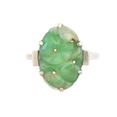 Lot 42 - A  jade dress ring