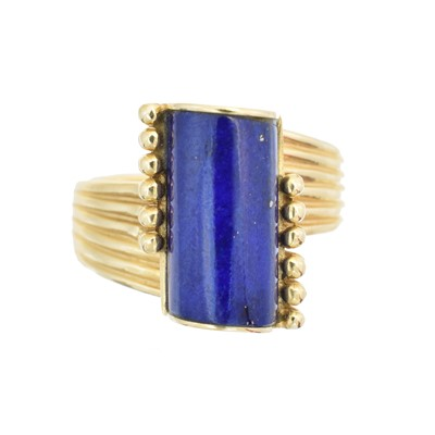 Lot 219 - A 1970s lapis lazuli dress ring