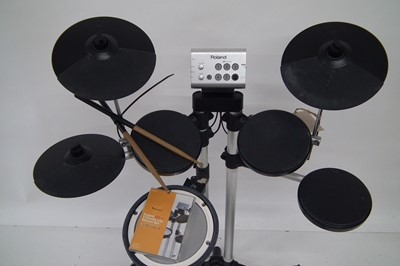 Lot 34 - Roland V-Drum Electric drum kit, with stool DVD and two sticks.