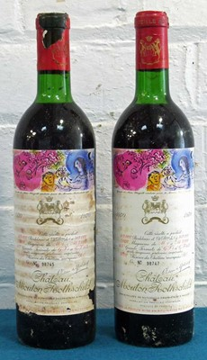 Lot 5 - 2 Bottles Chateau Mouton Rothschild Premier Grand Cru Classe Pauillac 1970