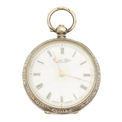 Lot 78 - A silver open face pocket watch by Charles Usher, Leicester