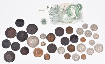 Lot 74 - An assortment of various historical coinage and a One Pound banknote.