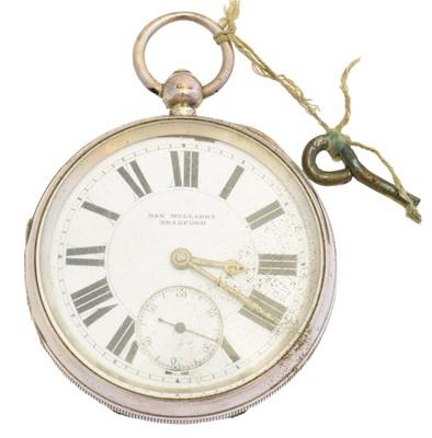 Lot 79 - A silver open face pocket watch by Dan Mullarky, Bradford