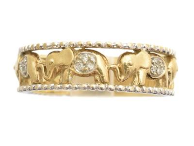 Lot 97 - A 9ct gold diamond band ring