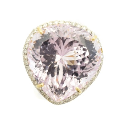 Lot 154 - An 18ct gold kunzite and diamond cluster ring by Lorique