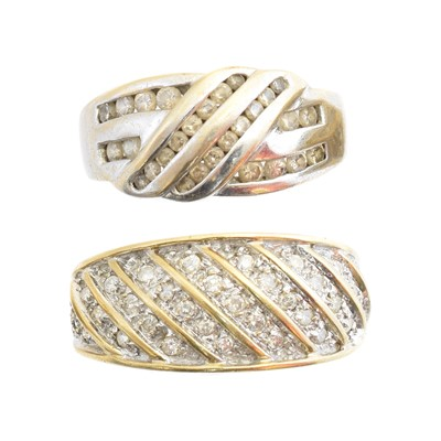 Lot 186 - Two 9ct gold diamond band rings