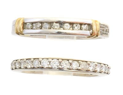 Lot 155 - Two diamond band rings