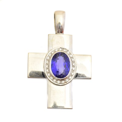 Lot A tanzanite and diamond cross pendant