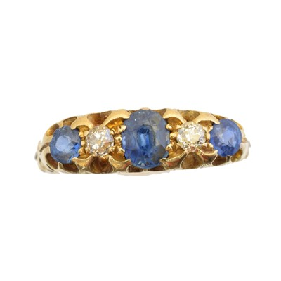 Lot 218 - An 18ct gold sapphire and diamond five stone ring