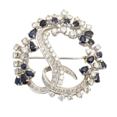 Lot 39-A sapphire and diamond brooch