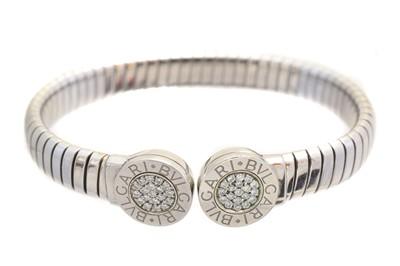 Lot 21-A Bulgari 'Tubogas' diamond torque bangle
