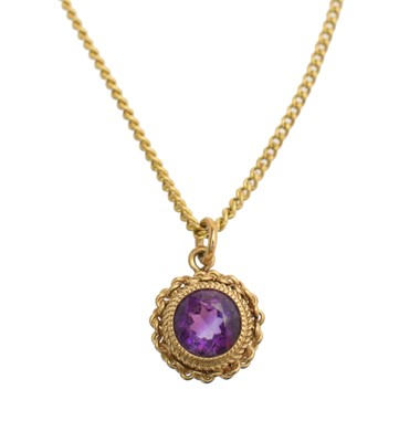 Lot 57A - A 9ct gold amethyst pendant