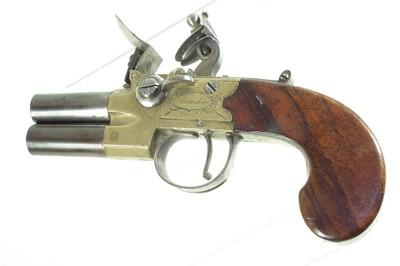 Lot Flintlock double barrel pistol by Brasher of London