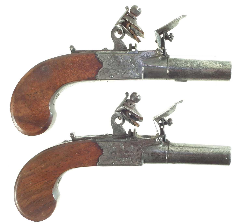 Lot 12 - Pair of Flintlock pocket or muff pistols by Bradshaw of Wrexham
