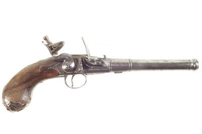 Lot 2 - Flintlock Queen Anne pistol by Walker of London