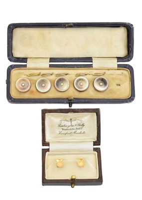 Lot 50 - A cased set of 9ct gold dress studs