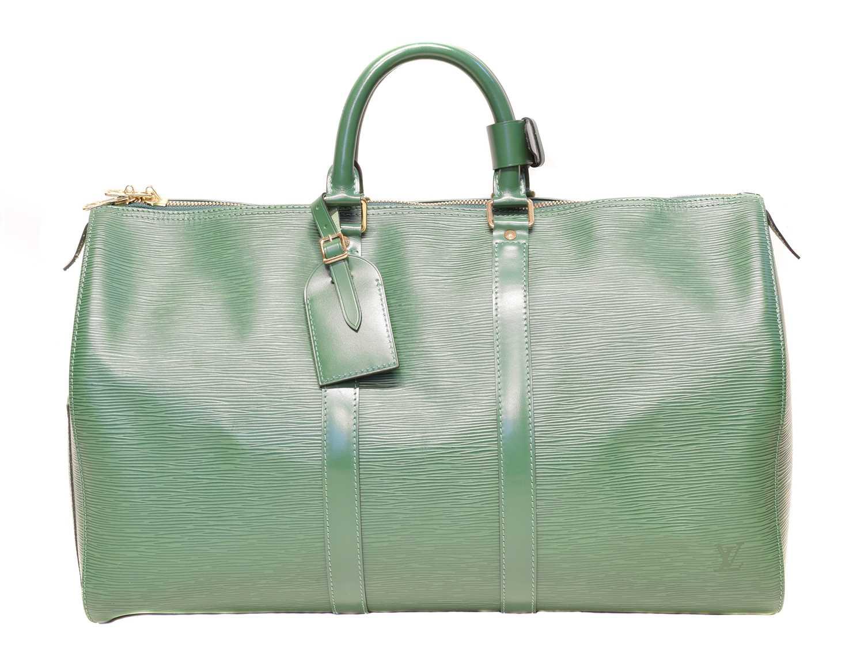Lot 73 - A Louis Vuitton green Epi Keepall 45 luggage bag