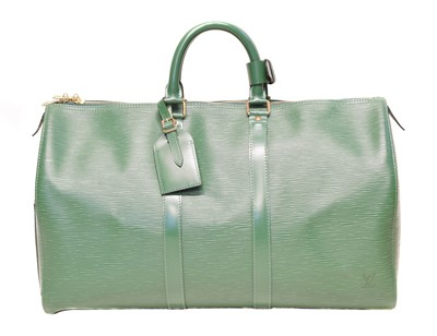 Lot 73 - A Louis Vuitton green Epi Keepall 45 luggage bag
