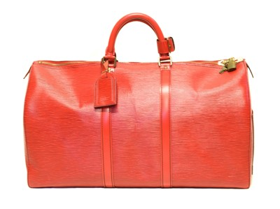 Lot 47 - A Louis Vuitton red Epi Keepall 50 luggage bag
