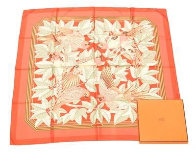 "Lot 49 - A Hermès ""Les Perroquets"" silk scarf by Joachim Metz"