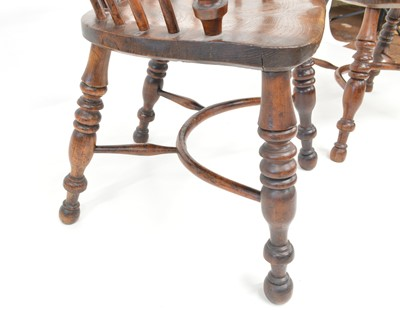 Lot 377 - Pair of mid 19th Century Yew and Elm Low Back Windsor Chairs
