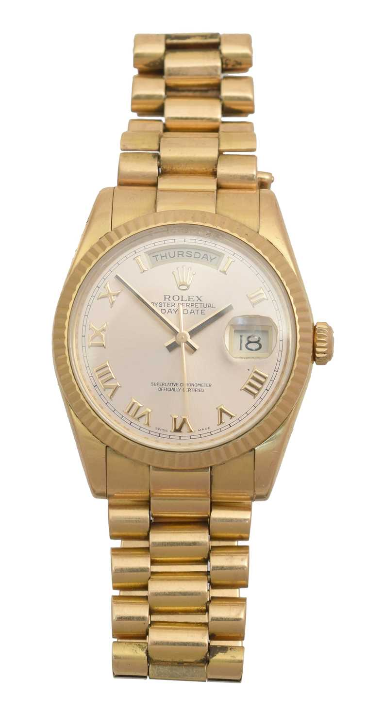 Lot A gents 18ct gold Rolex Oyster Perpetual Day-Date wristwatch